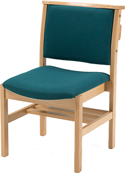 Comfortable wooden church chairs