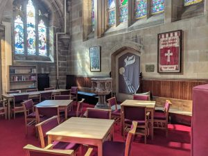church furniture, library furniture, wooden chairs and tables, stacking church chairs, church armchairs
