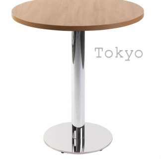 TOKYO Chrome Round Base Cafe Table with Square or Round MFC Top | Cafe Tables | CT2R
