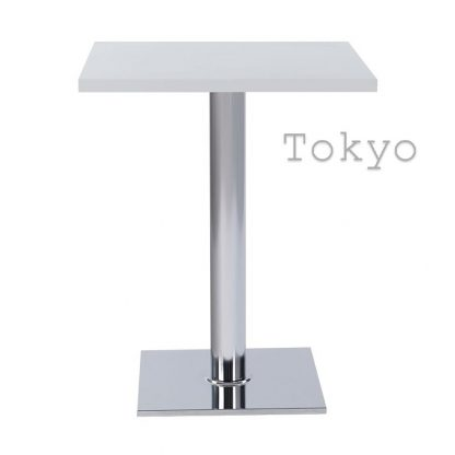 TOKYO Chrome Square Base Cafe Table with Square or Round MFC Top | Cafe Tables | CT2S