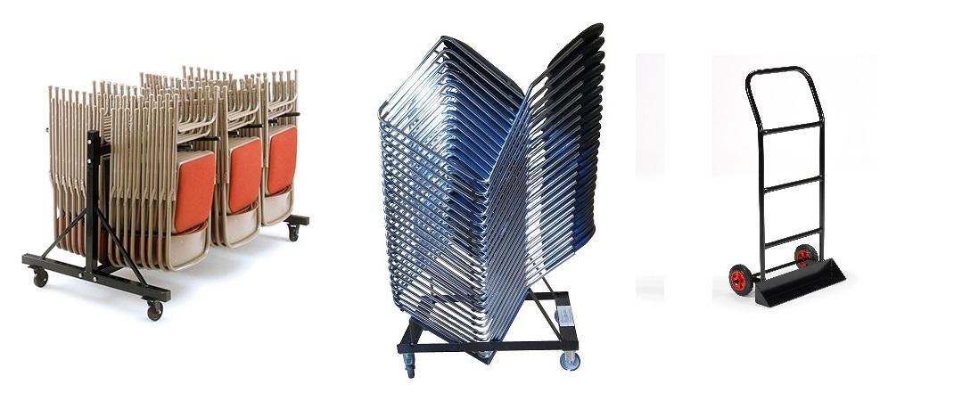 stacking chairs, folding chairs, stacking chair trolley, chair trolley, folding chair trolley, chair storage