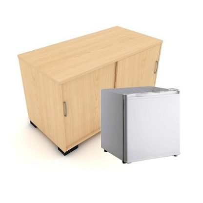 Sliding Door Storage Unit with Fridge | Credenza | ENSUFR