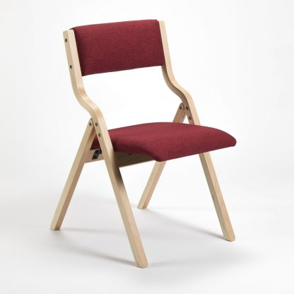 Wooden Frame Upholstered Folding Church Chair | Lightweight Wooden Stacking Chairs | FW