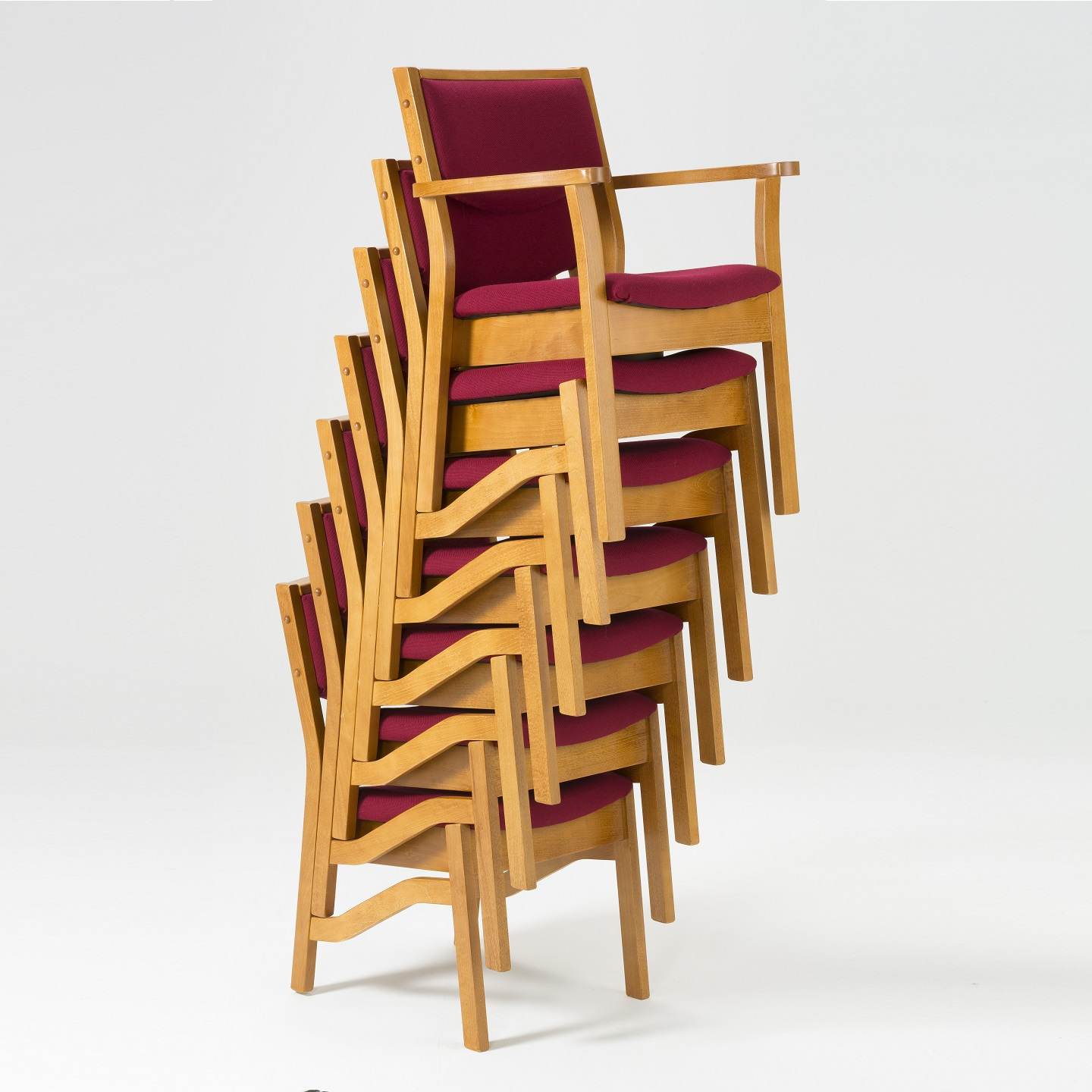 High Stacking Wooden Upholstered Chair