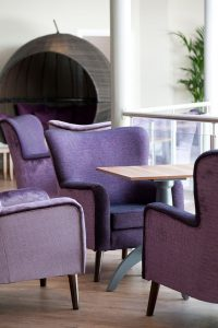 cafe seating, posh cafe, fancy cafe, mixing fabrics, armchairs, cafe armchairs