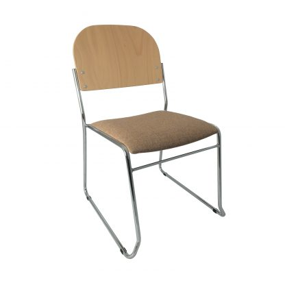 High Stacking Lightweight Upholstered Chair with Wooden Back | Church Chairs | SBH