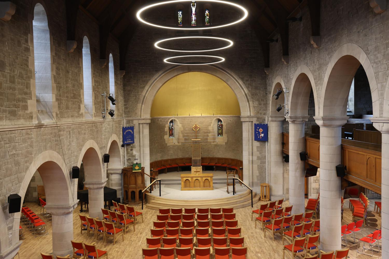 St Columba's Church, Edinburgh, church chairs, wooden church chair, stacking chairs