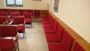 Bespoke upholstery, St Joseph's Church Gerrard's Cross. Alpha Furniture Church Chair Upholstery and Reupholstery Service