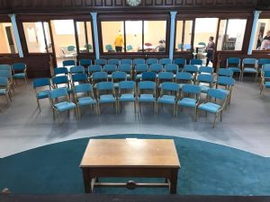Lightweight wooden stacking chairs for Taunton united reformed church