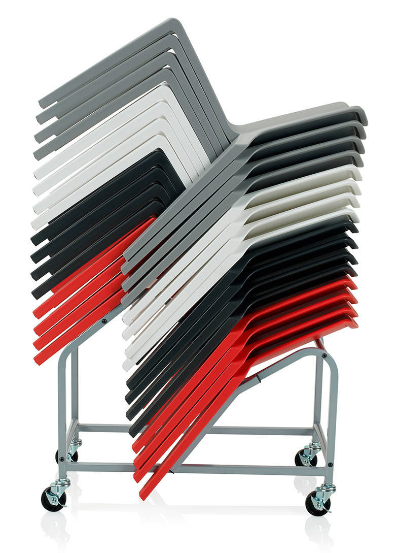 P3 chair can also stack up to 16 high on a purpose-made transport and storage dolley